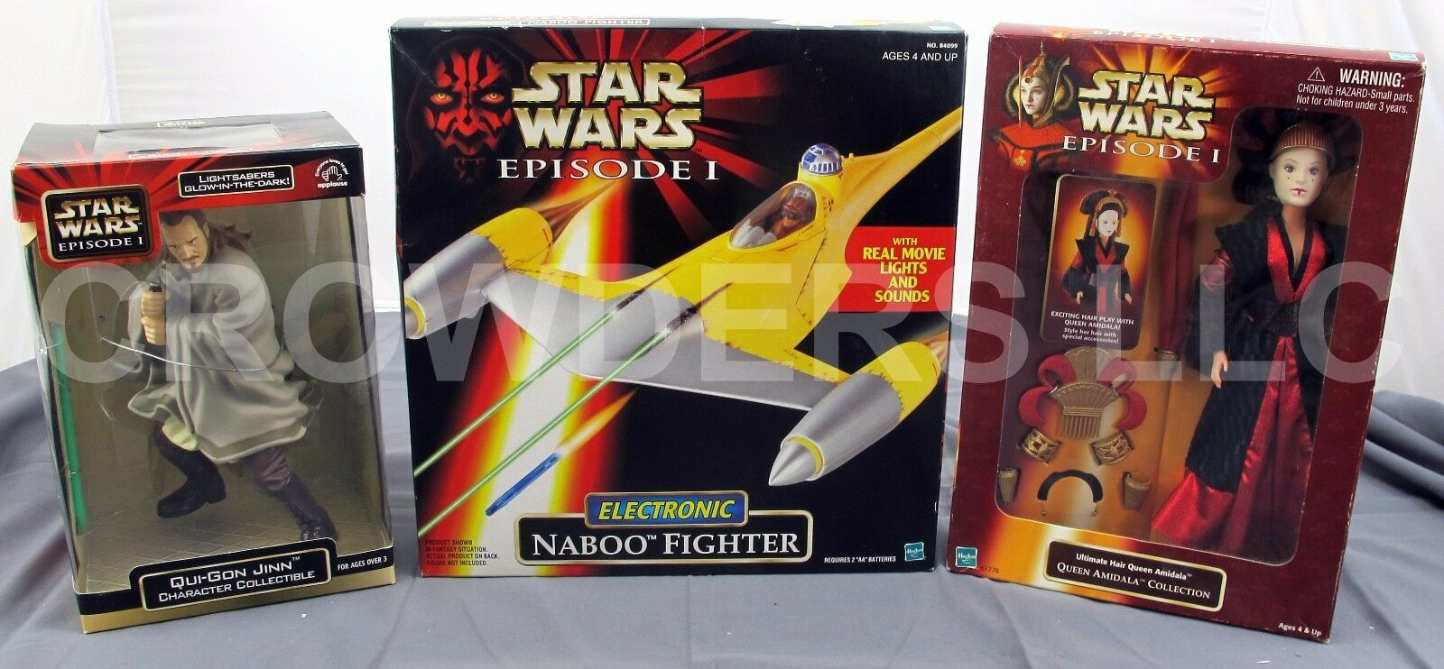 SW Episode 1 Electronic Naboo Fighter Ultimate Hair Queen Amidala & Qui Gon Jinn