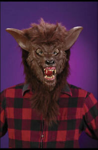 Brown Hairy Werewolf Wolf Brown Mask Costume Halloween Horror Scary Accessory