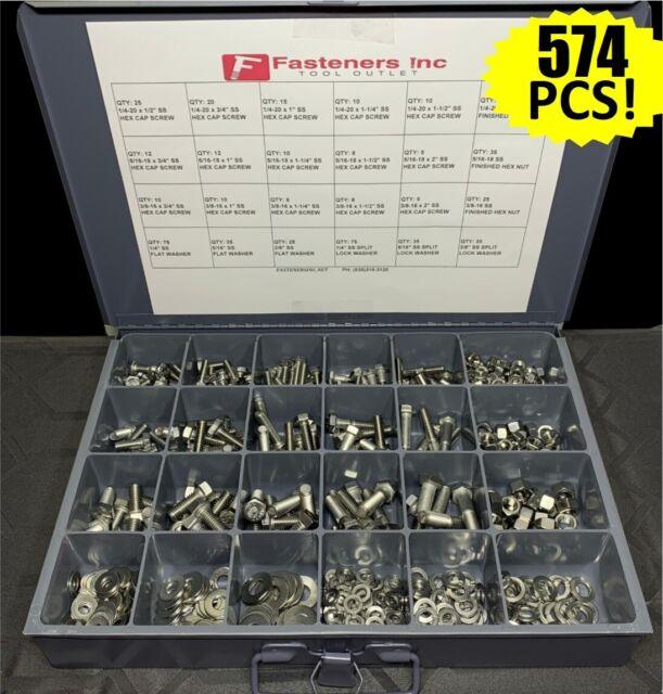 Stainless Steel Button Socket Head Cap Screw Allen Bolt Assortment Kit 574 PCS