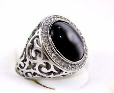 Oval Dark Black Cat Eye & Diamond Men's Solitiare Ring 14k White Gold 8.25Ct