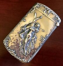 CUPID & PSYCHE Sterling Silver Match Safe Box VESTA NOUVEAU ANTIQUE VICTORIAN