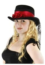 Woman Deluxe GOTHIC HAT w/Rose and Black Webbing Vampire Victorian Steam Punk To