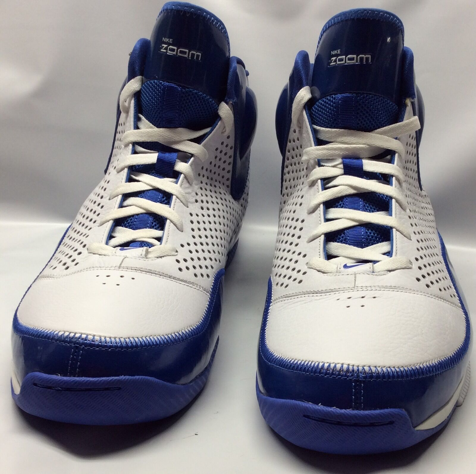 Nike Zoom Mid High Basketball Shoes White/Blue US 18