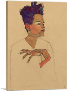 Self Portrait with Hands on Chest 1910 Canvas Art Print by Egon Schiele