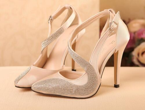 WOmen/'s High Stilettos Heels Pointed Toe Ankle Strap Pumps Rhinestone SHoes sz