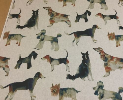 Studio g WALKIES Dog,Digital Print,Linen Look Fabric.Curtains//Upholstery//Cushion