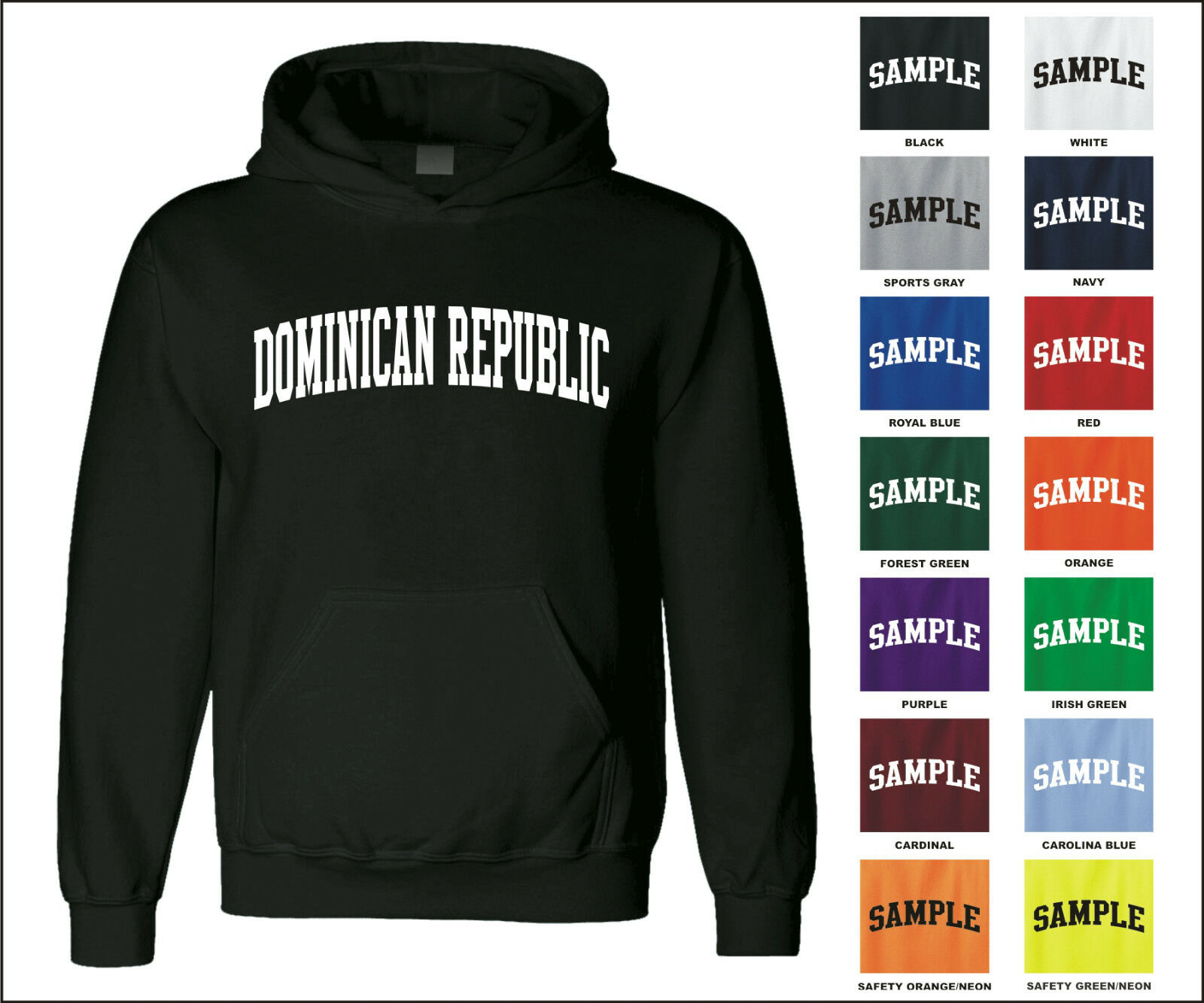 Country of Dominican Republic College Letter Adult Jersey Hooded Sweatshirt