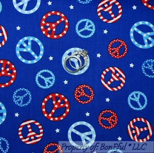 BonEful-Fabric-FQ-Cotton-Quilt-Blue-Red-White-Star-PEACE-SIGN-Hippie-America-USA