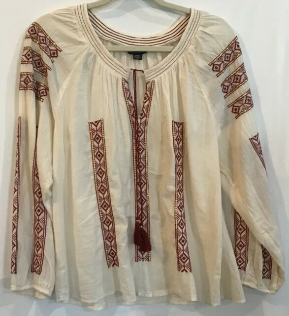 American Outfitters M Ivory Boho Embroidered Long Sleeve Tassel Peasant Top