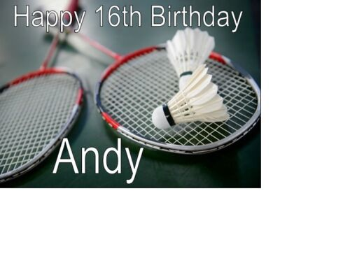 PERSONALISED BADMINTON BIRTHDAY CARD A5 anyNAMEage GREETINGS OCCASION