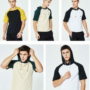 Hoodie-Hooded-Basic-Mens-Muscle-Slim-Fit-Tops-Shirts-Short-Sleeve-T-shirt-Casual