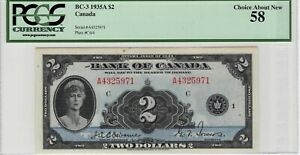 CANADA-1935-English-2-Banknote-depicting-Queen-Mary-BC-3-P-40-PCGS-Choice-AU-58