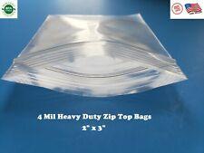 200 Zip Seal Bags 2 X 3 Clear 4 Mil Plastic Resealable Top Lock Mini Baggies