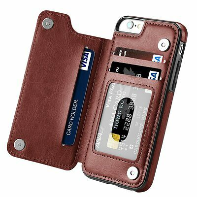 innovative design b1f26 167ce Leather Slim Wallet Credit Card Slot Stand Back Cover Case for ...