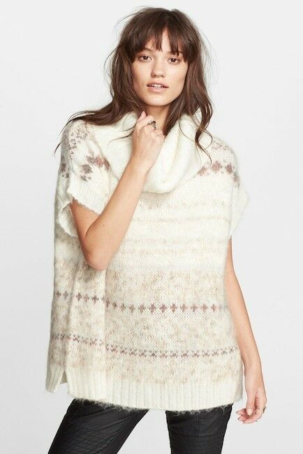 FREE PEOPLE Ivory Combo Fair Isle SNOW BUNNY Sweater - size M
