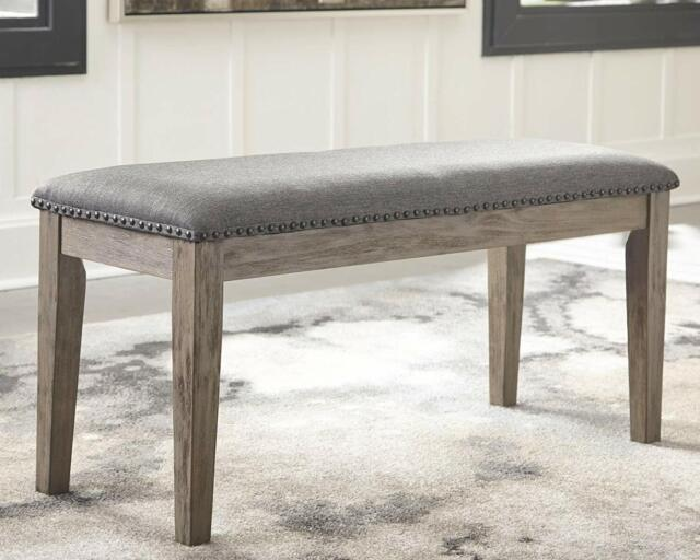 Swell Dark Grey Upholstered Dining Room Bench Entryway Hallway Cushioned Seat Modern Dailytribune Chair Design For Home Dailytribuneorg