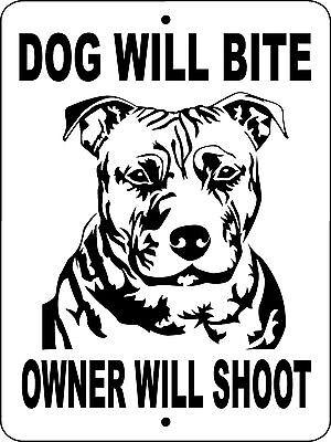 "PIT BULL DOG SIGN,PITBULL,9/""x12/"" Aluminum,Guard Dog Sign,Security,Decal,wnajpb"