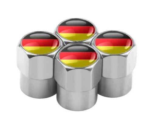 4x Ventilkappen Germany Flag Deutschland Flagge silber matt 6Km