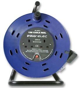 Pro Elec - 15 M Câble Bobine, 5 A Double Socket-afficher Le Titre D'origine Ruundkfc-07174326-696946320