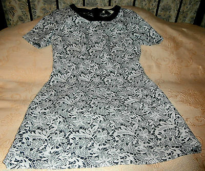 Grey & blue floral lace effect tea dress by YUMI Size 14 Cotton mix