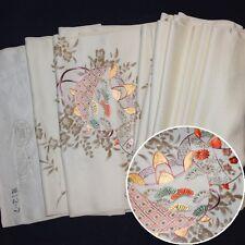 "Vintage Japanese Kimono Fabric Bolt Yardage Silk ""Embroidered Surprise"""