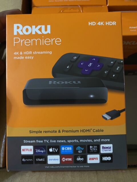 Roku Premiere 3920R  4K HDR 60fps Streaming Player, Black NEW!