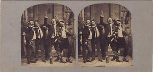 Scena Da Gernre Les Amis Il Lingua Foto Stereo Vintage Albumina Ca 1860