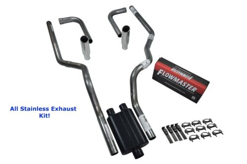 All-Stainless Dual Exhaust Kit Chevy GMC 1500 07-14 Flowmaster 40 Side R Tip