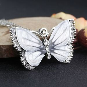 eFrauen-Kristall-Schmetterling-Anhaenger-Pullover-Kette-Charm-Kette-Halskett-R7M5