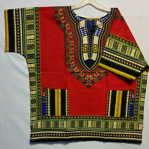 7d2955cfee6 Men Women African Dashiki Top T Shirt Traditional Blouse Red Plus ...