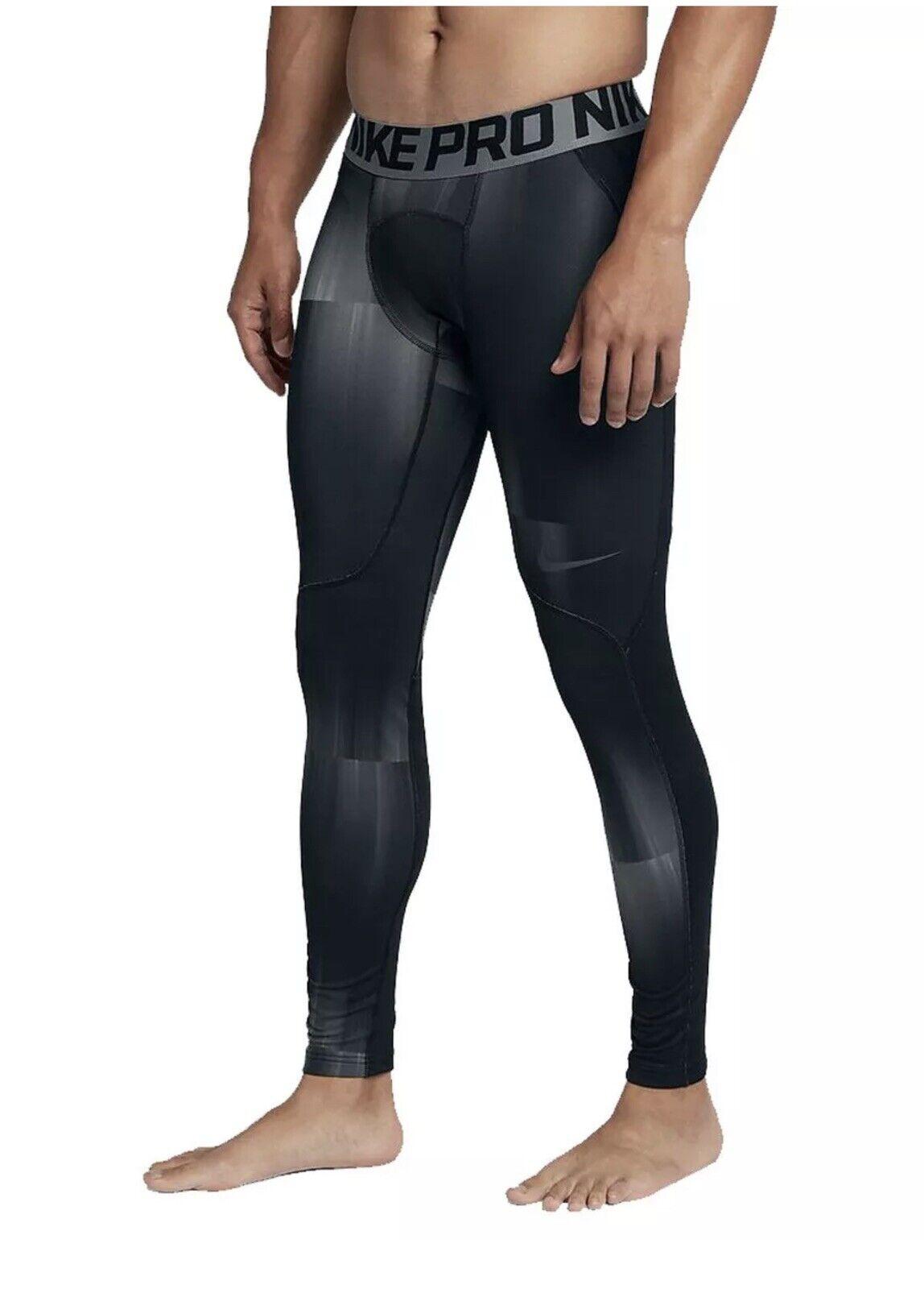 Nike Pro Men's  Size M & XL  Hyperwarm Printed Training Tights 801986-060 NWT  fitness retailer