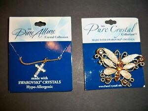 BUTTERFLY-PIN-CROSS-NECKLACE-039-039-PURE-ALLURE-039-039-SWAROVSKI-CRYSTALS-HYPO-ALLERGENIC