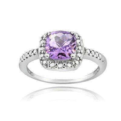 925 Silver 1.65ct Amethyst & Diamond Accent Square Ring