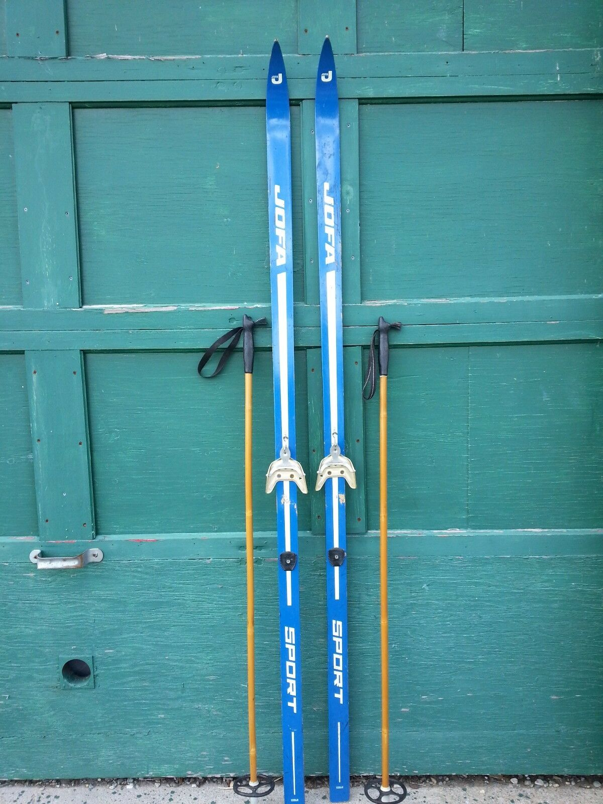 Vintage  Wooden Skis 75  Long with Great Old Original bluee Finish Signed JOFA  70% off