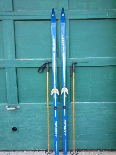 """Vintage Wooden Skis 75/"""" Long with Great Old Original Blue Finish Signed JOFA"""