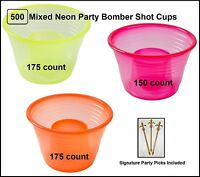 500-count Plastic Mixed Neon Party Bomber Shot Cups W/ Party Picks