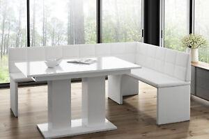 Eckbankgruppe Set Weiß Hochglanz Eckbank Esstisch Tisch Ausziehbar