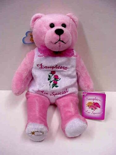 "Bible verse Mark 10:16 G Holy Bear 9/"" size/""Daugther/'s are Special/"" pink /& white"