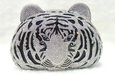 Evening Clutch Bag Silver Black Tiger Head~Handmade Austrian Crystal ~ Bridal