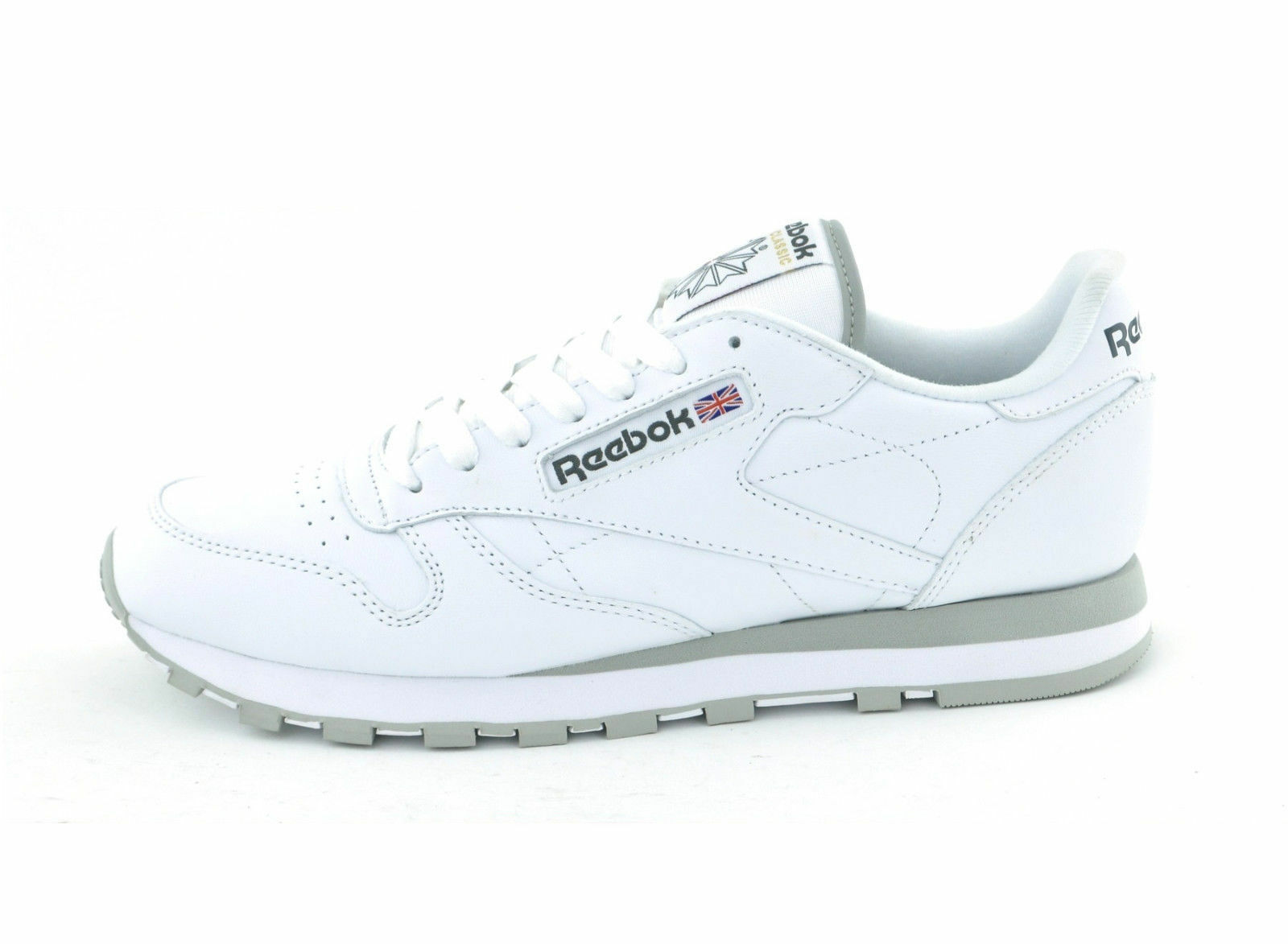 REEBOK NEW MAN'S CLASSIC BLACK/WHITE LEATHER  TRAINERS COLOR BLACK/WHITE CLASSIC 3815a8