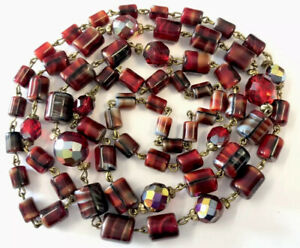 Vintage Wired Red Glass Barrel & Faceted 1/2 Borealis Bead Necklace 38 Inches