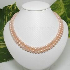 "Nature Pink 5.5-6mm Pearl Double Lanes Necklace Sterling Silver 925 Clasp16"" TPJ"