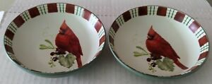 "2 Lenox Winter Greetings Everyday Cardinal fruit sauce dip bowl Stoneware 4 5/8"""