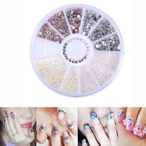 MIX-Glitter-DIY-Nail-Art-Tips-Charm-Gems-Crystal-Rhinestones-3D-Decoration-Wheel