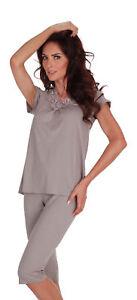 New Womens Pyjamas Set V Neck Top And Leggings Sleepwear Size UK 8 - 16
