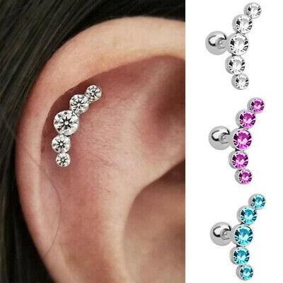 "Gem Paved Zircone Cubique Star Barbell Cartilage Tragus Piercing Oreille Barre Courte 16 G 1//4/"" C272"
