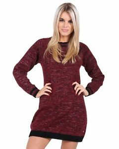 Femmes-Femmes-Tricot-Manches-Longues-Pull-ras-du-cou-Robe-en-Tricot-Top-Pull