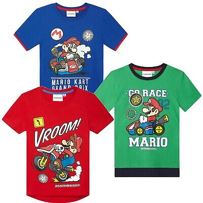 Boys Super Mario Kart Bros Short Sleeve T-Shirt Age 4 Years up to 10 Years