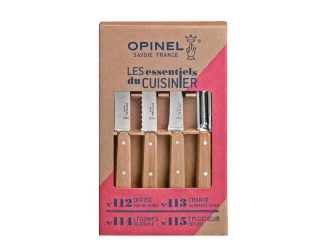 Coffret 4 couteaux inox OPINEL manche hêtre « Les essentiels du cuisinier »