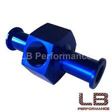 "3/8"" PUSH ON- INLINE Adaptor 1/8 NPT Port for Fuel Pressure gauge  Sender - BLUE"